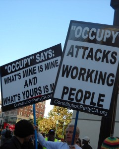 verticle-of-anti-occupy-signs